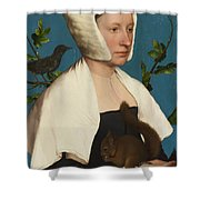 A Lady With A Squirrel And A Starling Shower Curtain