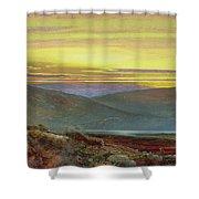 A Lake Landscape At Sunset Shower Curtain