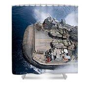 A Landing Craft Air Cushion Enters Teh Shower Curtain