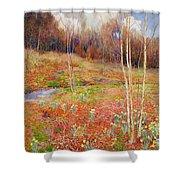A Landscape In Spring With A Nun Shower Curtain
