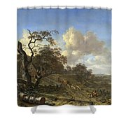 A Landscape With A Dead Tree Shower Curtain