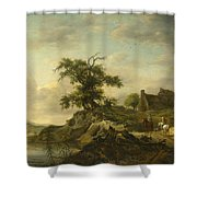 A Landscape With A Farm On The Bank Of A River Shower Curtain