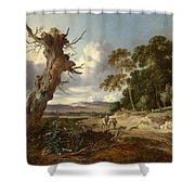 A Landscape With Two Dead Trees Shower Curtain