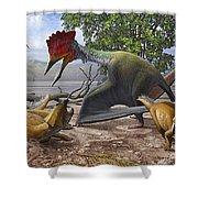 A Large Bakonydraco Pterosaur Attacking Shower Curtain by Sergey Krasovskiy