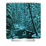A Leaning Tree Over The Little Naches River Shower Curtain