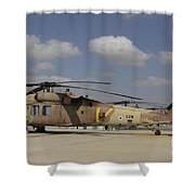 A Line Of Uh-60l Yanshuf Helicopters Shower Curtain