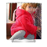 A Little Girl In Red Shower Curtain