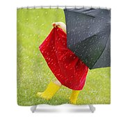 A Little Girl Walking In The Rain While Shower Curtain