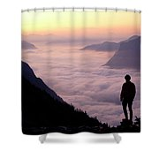 A Lone Hiker Above The Clouds Shower Curtain