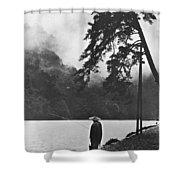 A Lone Japanese Fisherman Shower Curtain