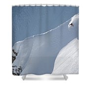 A Lone Skier Descends A Steep Line Shower Curtain