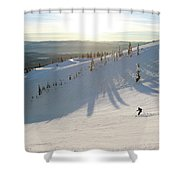 A Lone Skier Makes A Turn At Whitefish Shower Curtain