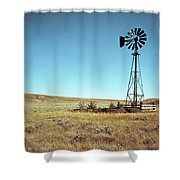 A Lone Windmill Stands On The Canadian Shower Curtain