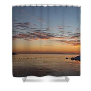 A Long Line Of Canada Geese At Sunrise Shower Curtain