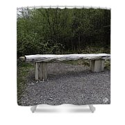 A Long Stone Section Over Wooden Stumps Forming A Rough Sitting Area Shower Curtain