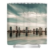 a look to New Jersey  Shower Curtain