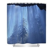 A Low Angle View Of Vernal Falls, North Shower Curtain