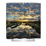 A Magical Marshmallow Sunrise  Shower Curtain by Ron Shoshani