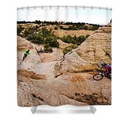 A Male And Female Mountain Biker Ride Shower Curtain