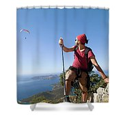 A Male Climber Looking At Paragliding Shower Curtain