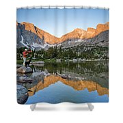 A Male Fly Fisherman In A Lake Shower Curtain