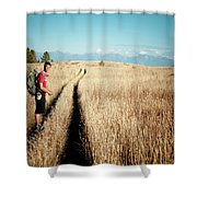 A Male Hiker In Montana Shower Curtain