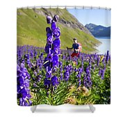 A Male Hiker In Sunny Flower Field Shower Curtain