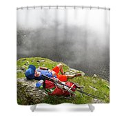 A Male Hiker Is Resting In A Grassy Shower Curtain