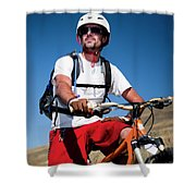 A Male Mountain Biker Stops To Enjoy Shower Curtain