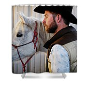A Male Ranch Hand In A Cowboy Hat Shower Curtain