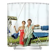 A Man And A Woman Embrace In Sailboat Shower Curtain