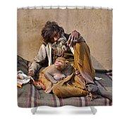 A Man And His Monkey - Varanasi India Shower Curtain