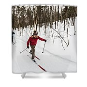 A Man And Woman Cross Country Skiing Shower Curtain