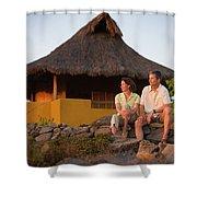 A Man And Woman Enjoy Sunset Shower Curtain