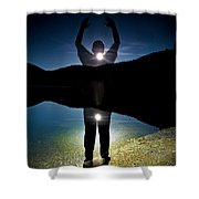 A Man Balances On A Log At Night Shower Curtain