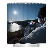 A Man Captures The Full Moon Shower Curtain