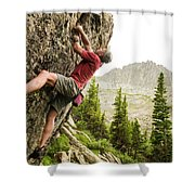 A Man Clinging To Rock Face In The Shower Curtain