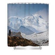 A Man Contemplates The Size Of Kanchenjunga Shower Curtain