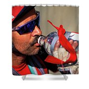 A Man Drinking Water Shower Curtain