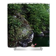 A Man Floats Along In A Kayak Shower Curtain