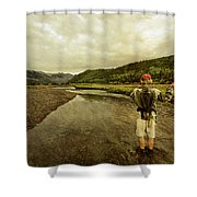 A Man Flyfishing On A River Shower Curtain