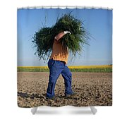 A Man Harvests Sedge To Be Used Shower Curtain