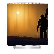 A Man Hikes Up A Mountain At Sunrise Shower Curtain