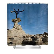 A Man Hiking And Exploring The Complex Shower Curtain