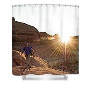 A Man Hiking In The Needles District Shower Curtain