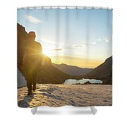 A Man Hiking On Snowfield At Sunrise Shower Curtain