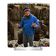A Man Holds Climbing Gear And Smiles Shower Curtain