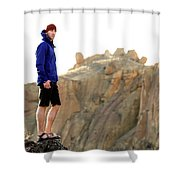 A Man In A Blue Jacket Standing Shower Curtain