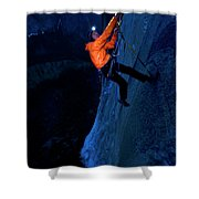 A Man Jumaring To A Route On El Cap Shower Curtain