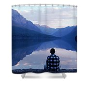 A Man Looks At The Mountains Shower Curtain